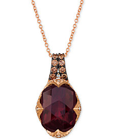 "Le Vian® Rhodolite Garnet (6-9/10 ct. t.w.) and Diamond (3/8 ct.t.w.) 18"" Pendant Necklace in 14K Rose Gold"