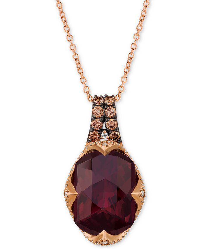 "Le Vian - Rhodolite Garnet (6-9/10 ct. t.w.) and Diamond (3/8 ct.t.w.) 18"" Pendant Necklace in 14K Rose Gold"