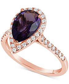 Amethyst (2 ct. t.w.) & Diamond (1/4 ct. t.w.) Ring in 14k Rose Gold