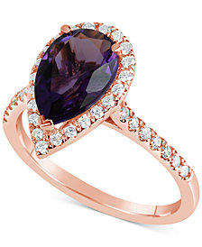 Amethyst (2 ct. t.w.) & Diamond (1/4 ct. t.w.) Ring in 14k Rose Gold