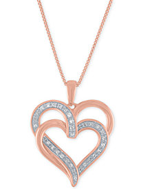 "Diamond Overlap Heart 18"" Pendant Necklace (1/10 ct. t.w.) in 14k Rose Gold-Plated Sterling Silver"
