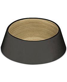 TarHong Matte Black & Wood-Look Medium Pet Bowl