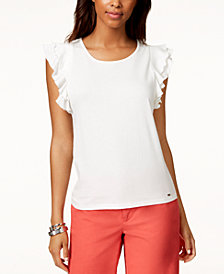 Tommy Hilfiger Ruffled-Sleeve T-Shirt, Created for Macy's