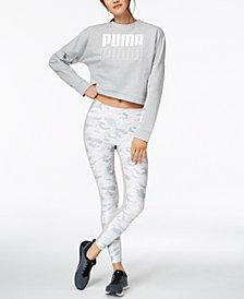 Puma dryCELL® Cropped Sweatshirt & Camo-Print Leggings