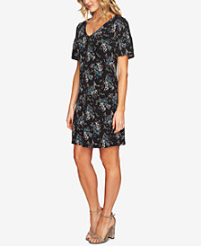 CeCe Printed Smocked Sleeve Dress