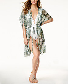 I.N.C Palm-Print Kimono & Cover-Up, Created for Macy's