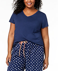 HUE® Plus Size Solid V-Neck Pajama Top
