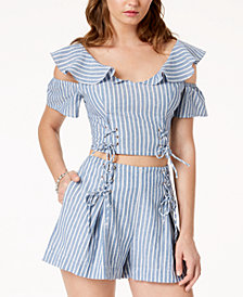GUESS Hermosa Flounce Crop Top