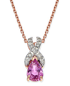 "Pink Sapphire (7/8 ct. t.w.) & Diamond (1/10 ct. t.w.) 18"" Pendant Necklace in 14k Rose Gold"