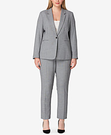 Tahari ASL Plus Size Belted Plaid Pantsuit