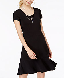 Planet Gold Juniors' Scoop-Back Fit & Flare Dress