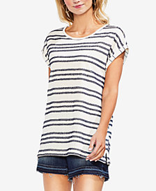 Vince Camuto Fringe Cuffed-Sleeve T-Shirt