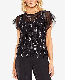 Vince Camuto Sequin-Embellished Illusion Top