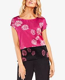 Vince Camuto Printed Colorblocked Top
