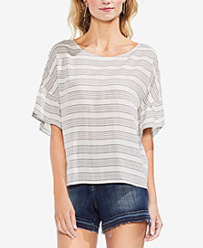 Vince Camuto Striped Drop-Shoulder T-Shirt