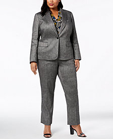 Anne Klein Blazer, Printed Top & Straight-Leg Pants