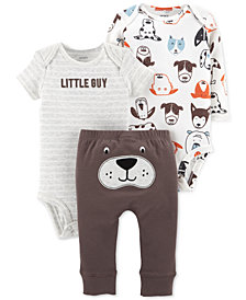 Carter's Baby Boys 3-Pc. Printed Cotton Bodysuits & Pants Set