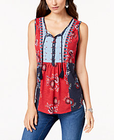 Style & Co Petite Embroidered Printed Top, Created for Macy's