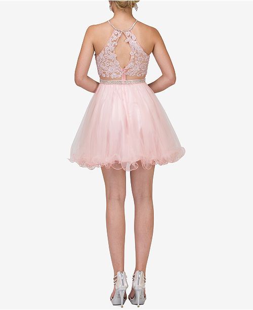 Queen Fit Flare Dress Juniors' Embellished Champagne Dancing amp; Adw1qtaxAp
