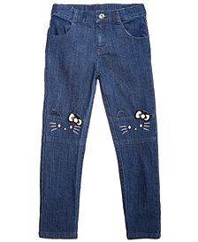Hello Kitty Toddler Girls Embroidered Face Jeans