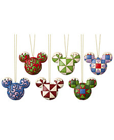 Jim Shore Mickey Head Ornaments, Set of 6