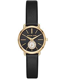 Michael Kors Women's Petite Portia Black Leather Strap Watch 28mm