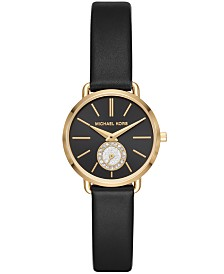Michael Kors Women's Petite Portia Black Leather Strap Watch 28mm