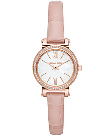 Michael Kors Women's Petite Sofie Pink Leather Strap Watch 26mm