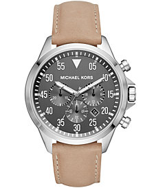 Michael Kors Men's Chronograph Gage Taupe Leather Strap Watch 45x52mm