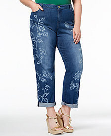 MICHAEL Michael Kors Plus Size Floral-Print Boyfriend Jeans