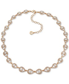 "Gold-Tone Pavé & Imitation Pearl Collar Necklace, 16"" + 3"" extender"