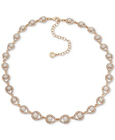 "Anne Klein Gold-Tone Pavé & Imitation Pearl Collar Necklace, 16"" + 3"" extender"