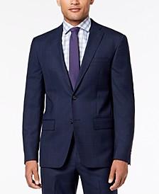 Men's Modern-Fit Blue Windowpane Suit Jacket