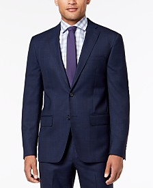 DKNY Men's Modern-Fit Blue Windowpane Suit Jacket