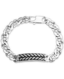 Men's Herringbone and Link Bracelet in Stainless Steel and Black Ion-Plate