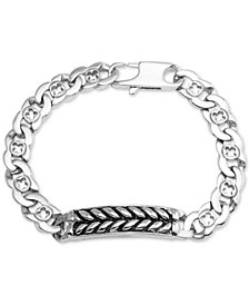 Men's Herringbone and Link Bracelet in Stainless Steel and Black Ion-Plate