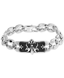 Men's Fleur-de-Lis Plate Link Bracelet in Stainless Steel & Black Ion-Plate