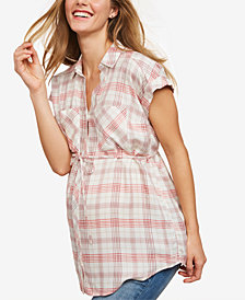 Motherhood Maternity Plaid Button-Front Shirt
