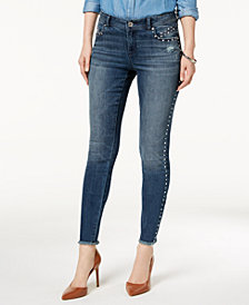 I.N.C. Studded Frayed-Hem Skinny Jeans, Created for Macy's