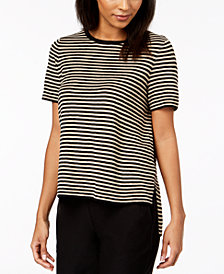 Eileen Fisher Organic Linen Striped High-Low Top