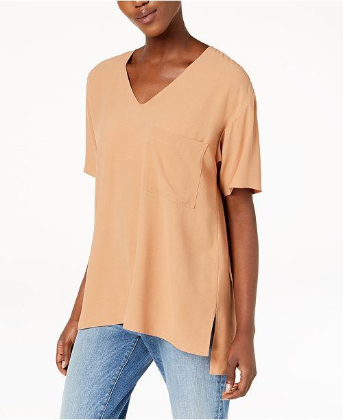 52d26f5963c36 Eileen Fisher Silk High-Low T-Shirt   Reviews - Tops - Women - Macy s