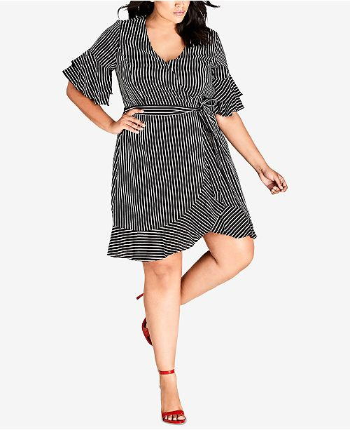 b1e6664ab9d ... City Chic Trendy Plus Size Chenelle Striped Ruffled Wrap Dress ...