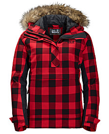 Jack Wolfskin Women's Timberwolf Plaid Hooded Pullover Jacket with Faux-Fur Trim from Eastern Mountain Sports