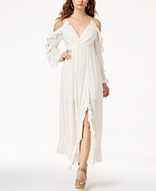 GUESS Kellye Ruffled Cold-Shoulder Maxi Dress