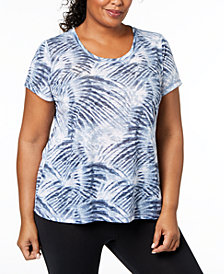 Ideology Plus Size Keyhole-Back T-Shirt, Created for Macy's