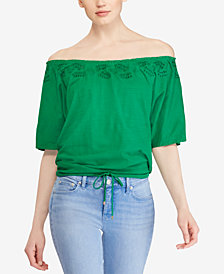 Lauren Ralph Lauren Petite Embroidered Off-The-Shoulder Cotton Top