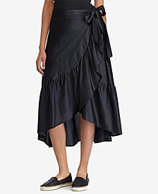 Lauren Ralph Lauren Ruffled Cotton Wrap Skirt