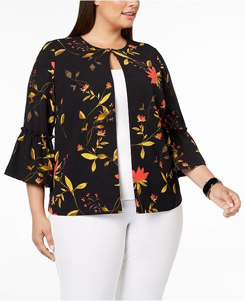 61bd687434b Alfani Plus Size Printed Bell-Sleeve Jacket