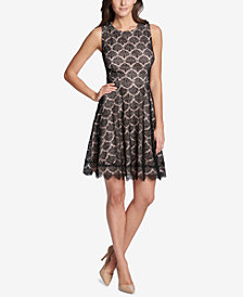kensie Fan Lace Fit & Flare Dress