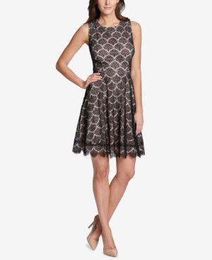 KENSIE FAN LACE FIT & FLARE DRESS